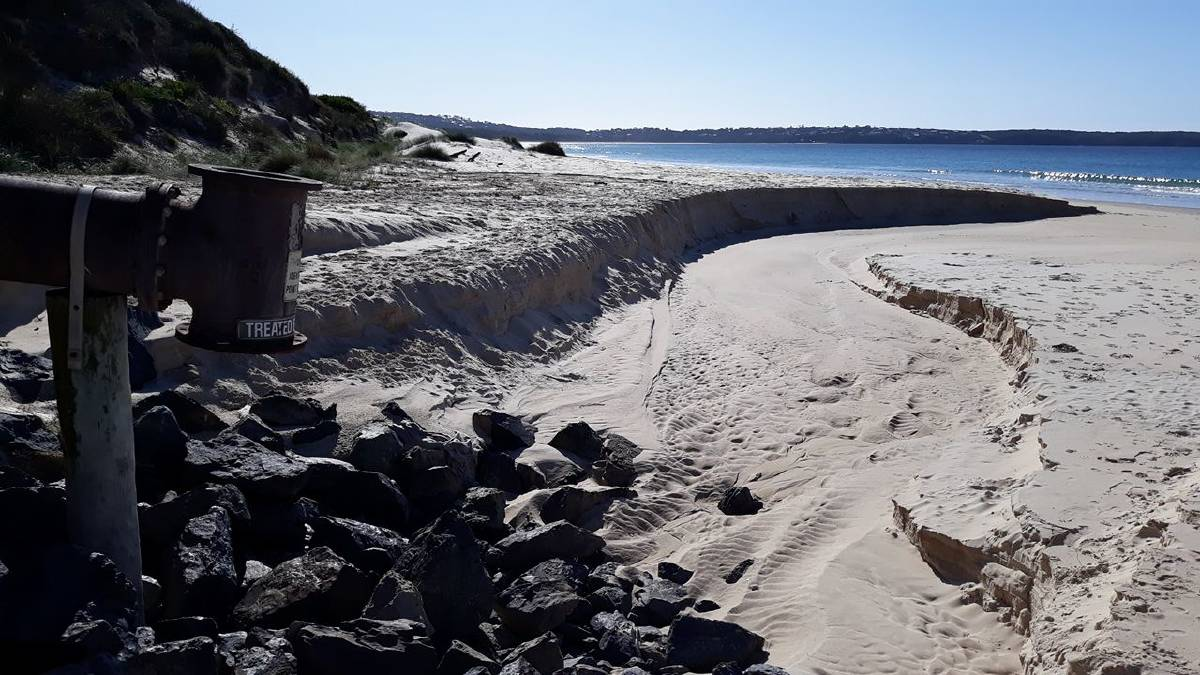 RESOURCE?: Merimbula's current beach outfall pipe for treated effluent. Plans are being pursued for a deep ocean outfall, but community groups are calling for its reuse instead.